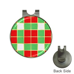 Christmas Fabric Textile Red Green Hat Clips With Golf Markers