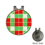 Christmas Fabric Textile Red Green Hat Clips with Golf Markers Front