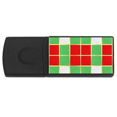 Christmas Fabric Textile Red Green Usb Flash Drive Rectangular (4 Gb)  by AnjaniArt