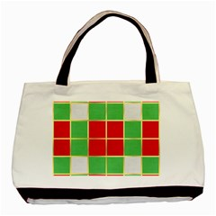 Christmas Fabric Textile Red Green Basic Tote Bag by AnjaniArt