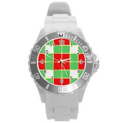 Christmas Fabric Textile Red Green Round Plastic Sport Watch (l)
