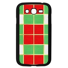 Christmas Fabric Textile Red Green Samsung Galaxy Grand Duos I9082 Case (black) by AnjaniArt