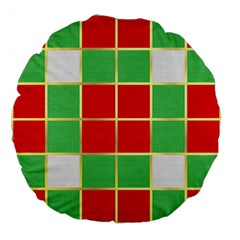Christmas Fabric Textile Red Green Large 18  Premium Flano Round Cushions by AnjaniArt