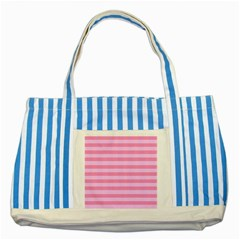 Fabric Baby Pink Shades Pale Striped Blue Tote Bag by AnjaniArt