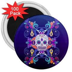 Día De Los Muertos Skull Ornaments Multicolored 3  Magnets (100 Pack) by EDDArt