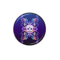 Día De Los Muertos Skull Ornaments Multicolored Hat Clip Ball Marker (4 Pack) by EDDArt