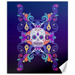 Día De Los Muertos Skull Ornaments Multicolored Canvas 8  X 10  by EDDArt