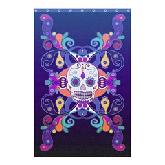 Día De Los Muertos Skull Ornaments Multicolored Shower Curtain 48  X 72  (small)  by EDDArt