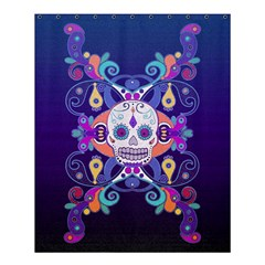 Día De Los Muertos Skull Ornaments Multicolored Shower Curtain 60  X 72  (medium)  by EDDArt