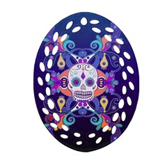 Día De Los Muertos Skull Ornaments Multicolored Oval Filigree Ornament (2 Side)  by EDDArt