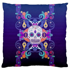 Día De Los Muertos Skull Ornaments Multicolored Large Cushion Case (one Side) by EDDArt