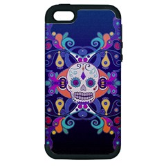 Día De Los Muertos Skull Ornaments Multicolored Apple Iphone 5 Hardshell Case (pc+silicone) by EDDArt