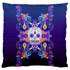 Día De Los Muertos Skull Ornaments Multicolored Standard Flano Cushion Case (two Sides) by EDDArt