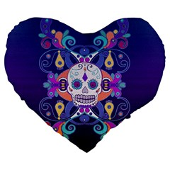 Día De Los Muertos Skull Ornaments Multicolored Large 19  Premium Flano Heart Shape Cushions by EDDArt