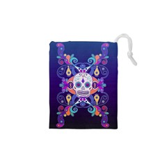 Día De Los Muertos Skull Ornaments Multicolored Drawstring Pouches (xs)  by EDDArt