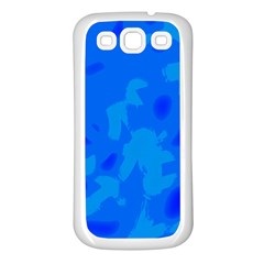 Simple Blue Samsung Galaxy S3 Back Case (white) by Valentinaart