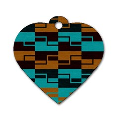 Fabric Textile Texture Gold Aqua Dog Tag Heart (one Side) by AnjaniArt