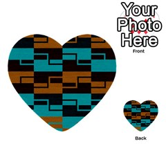 Fabric Textile Texture Gold Aqua Multi Purpose Cards (heart)  by AnjaniArt