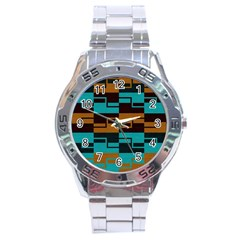 Fabric Textile Texture Gold Aqua Stainless Steel Analogue Watch by AnjaniArt