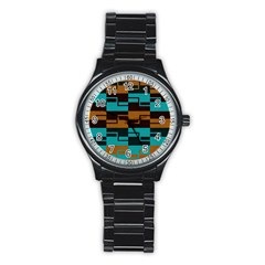 Fabric Textile Texture Gold Aqua Stainless Steel Round Watch by AnjaniArt