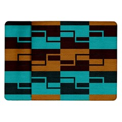 Fabric Textile Texture Gold Aqua Samsung Galaxy Tab 10 1  P7500 Flip Case by AnjaniArt