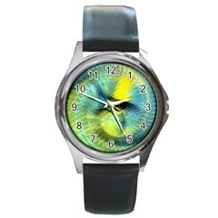 Light Blue Yellow Abstract Fractal Round Metal Watch by designworld65