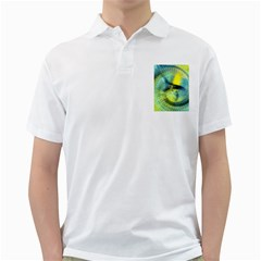 Light Blue Yellow Abstract Fractal Golf Shirts by designworld65