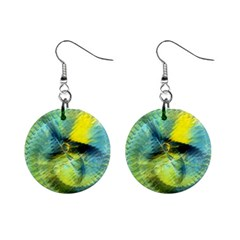 Light Blue Yellow Abstract Fractal Mini Button Earrings by designworld65