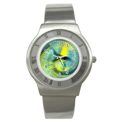 Light Blue Yellow Abstract Fractal Stainless Steel Watch by designworld65
