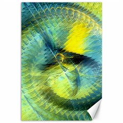 Light Blue Yellow Abstract Fractal Canvas 12  X 18   by designworld65