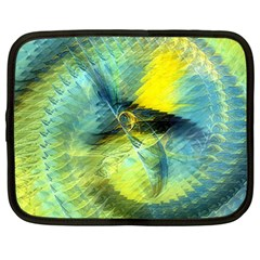 Light Blue Yellow Abstract Fractal Netbook Case (large) by designworld65