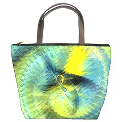 Light Blue Yellow Abstract Fractal Bucket Bags by designworld65