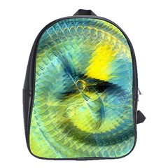 Light Blue Yellow Abstract Fractal School Bags(large)  by designworld65