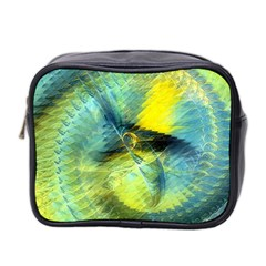 Light Blue Yellow Abstract Fractal Mini Toiletries Bag 2 Side by designworld65