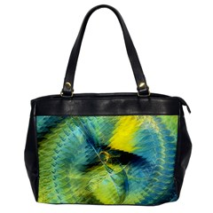 Light Blue Yellow Abstract Fractal Office Handbags by designworld65