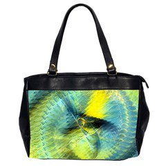 Light Blue Yellow Abstract Fractal Office Handbags (2 Sides)  by designworld65