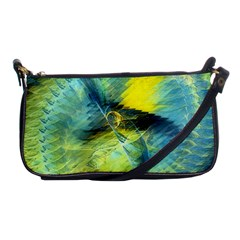 Light Blue Yellow Abstract Fractal Shoulder Clutch Bags by designworld65