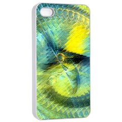 Light Blue Yellow Abstract Fractal Apple Iphone 4/4s Seamless Case (white) by designworld65