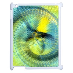 Light Blue Yellow Abstract Fractal Apple Ipad 2 Case (white) by designworld65
