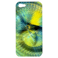Light Blue Yellow Abstract Fractal Apple Iphone 5 Hardshell Case by designworld65