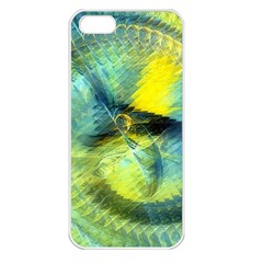 Light Blue Yellow Abstract Fractal Apple Iphone 5 Seamless Case (white) by designworld65