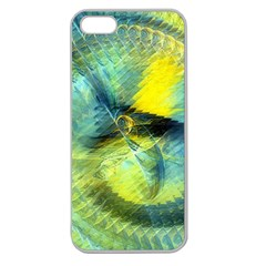Light Blue Yellow Abstract Fractal Apple Seamless Iphone 5 Case (clear) by designworld65