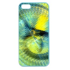Light Blue Yellow Abstract Fractal Apple Seamless Iphone 5 Case (color) by designworld65