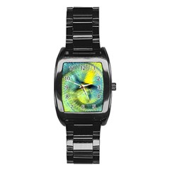 Light Blue Yellow Abstract Fractal Stainless Steel Barrel Watch by designworld65