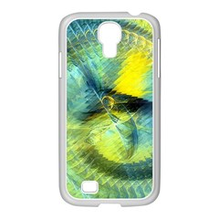 Light Blue Yellow Abstract Fractal Samsung Galaxy S4 I9500/ I9505 Case (white) by designworld65