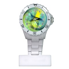 Light Blue Yellow Abstract Fractal Plastic Nurses Watch by designworld65