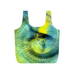 Light Blue Yellow Abstract Fractal Full Print Recycle Bags (s)  by designworld65