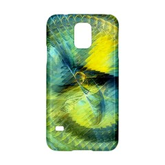 Light Blue Yellow Abstract Fractal Samsung Galaxy S5 Hardshell Case  by designworld65