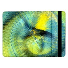 Light Blue Yellow Abstract Fractal Samsung Galaxy Tab Pro 12 2  Flip Case by designworld65