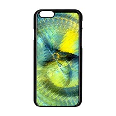 Light Blue Yellow Abstract Fractal Apple Iphone 6/6s Black Enamel Case by designworld65